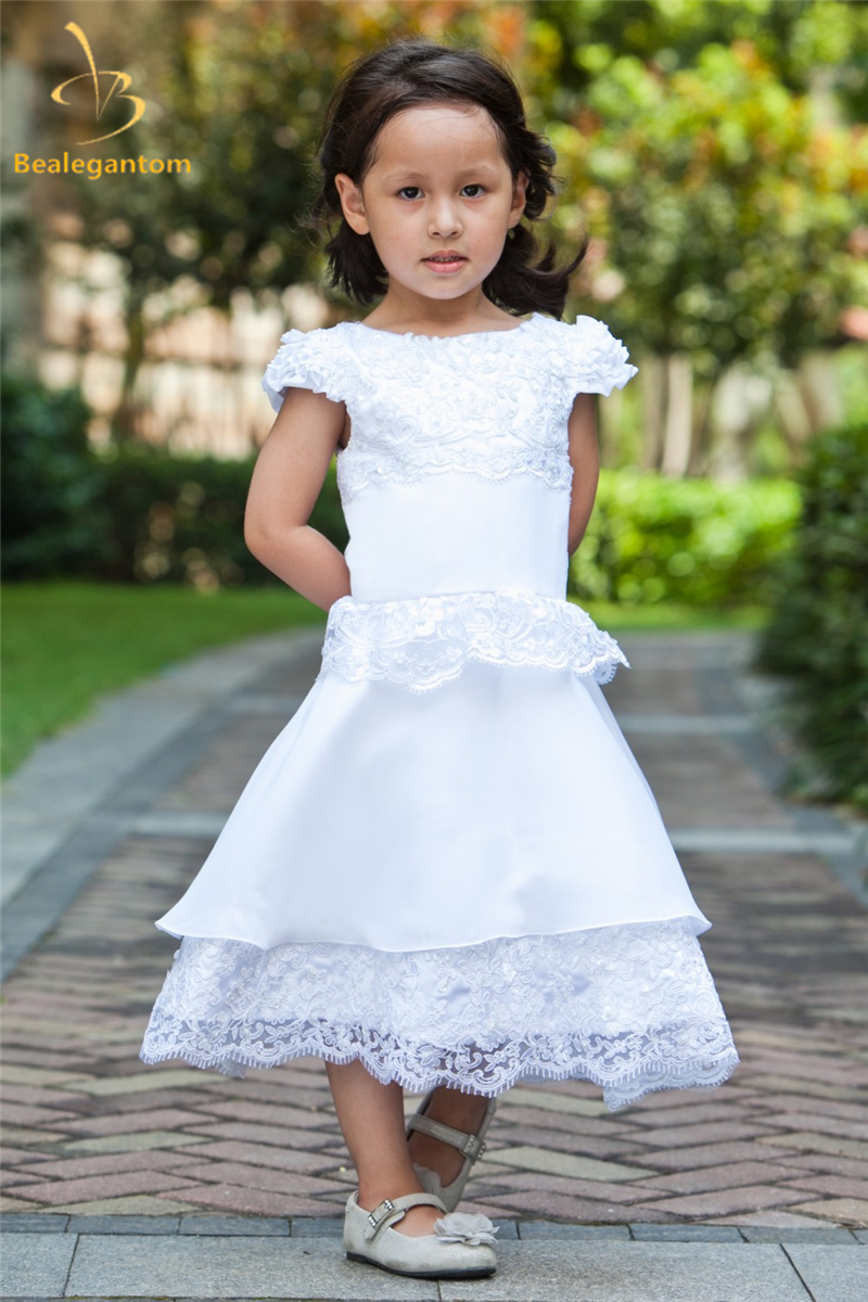 Bealegantom 2019 New A-Line Lace   Flower     Girl     Dresses   with Satin Bow   Girls   Pageant Gown First Communion   Dresses   QA1147