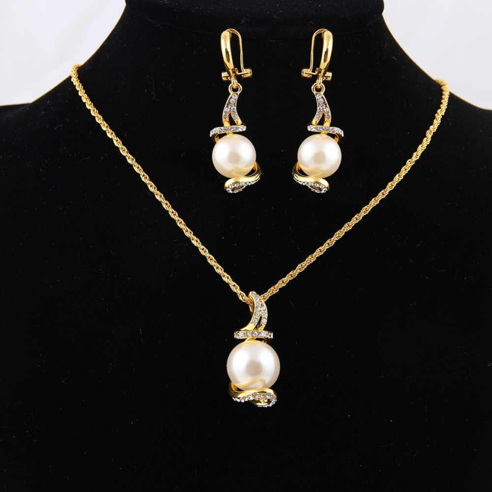 ERLUER Нигерия Африка Золото Цвет Имитация жемчужные Свадебные украшения наборы для женщин Свадебное ювелирное изделие ожерелье серьги набор подарки