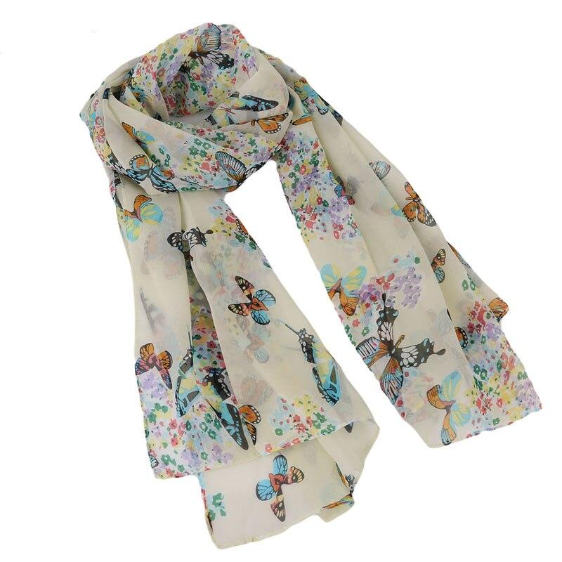 Summer Chiffon Scarf Butterflies Scarves Women's Scarf Long Shawl Spring Chiffon Infinity Scarf Foulard Hijab Scarf 150*40cm