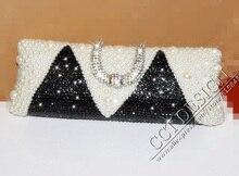 Sexy ladies customized elfenbein perlen und schwarz strass hochzeit taschen frauen handtasche vintage abendtasche