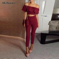 Crop Top Woman Nightclub Set 2017 Women Summer 2 Piece 1 Set Women Suit Off Shoulder