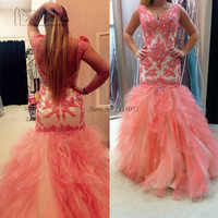 2017 Coral Prom Dresses Long Elegant Lace Backless Special Occasion Dress Formal Evening Gown Vestidos de Graduacion Ballkleider