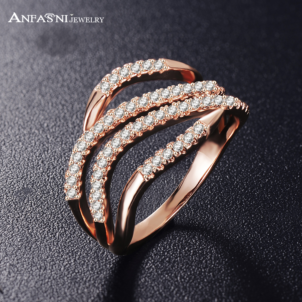 ANFASNI Hot Sale Rose Golden Color Rings 4 Rows Wave Shape Paved 1.1mm 0.01ct AAA Zirconia Women Fashion Jewelry CRI1021