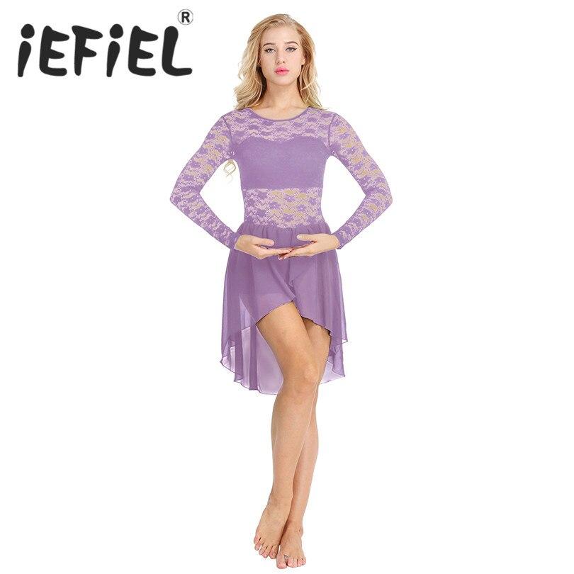 New Arrival Women Adults Girls Long Sleeve Floral Lace Asymmetric Chiffon Leotard Bodysuit Ballet Dance Tutu Tulle Dancing Dress