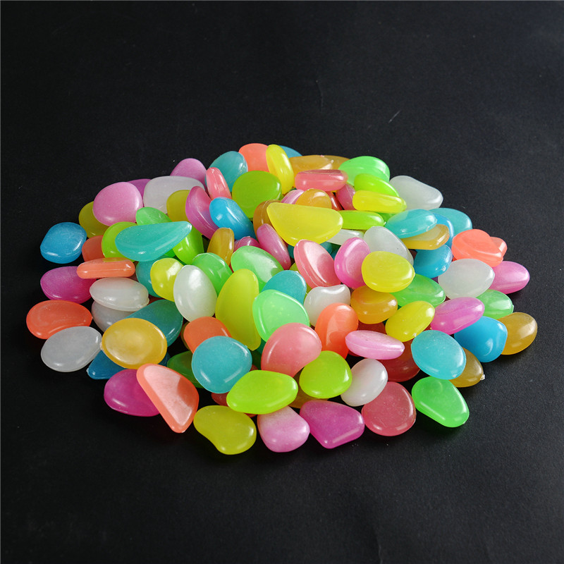 Multicolor Glow In The Dark Garden Pebbles Glow Stones Rocks for Walkways Garden Path Patio Lawn Garden Yard Decor Luminous