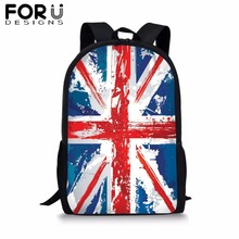 FORUDESIGNS Customize Image British Flag Backpack for Girl Boy UK Print School Bag Kids 16 inch Bookbag Student Primary Mochila