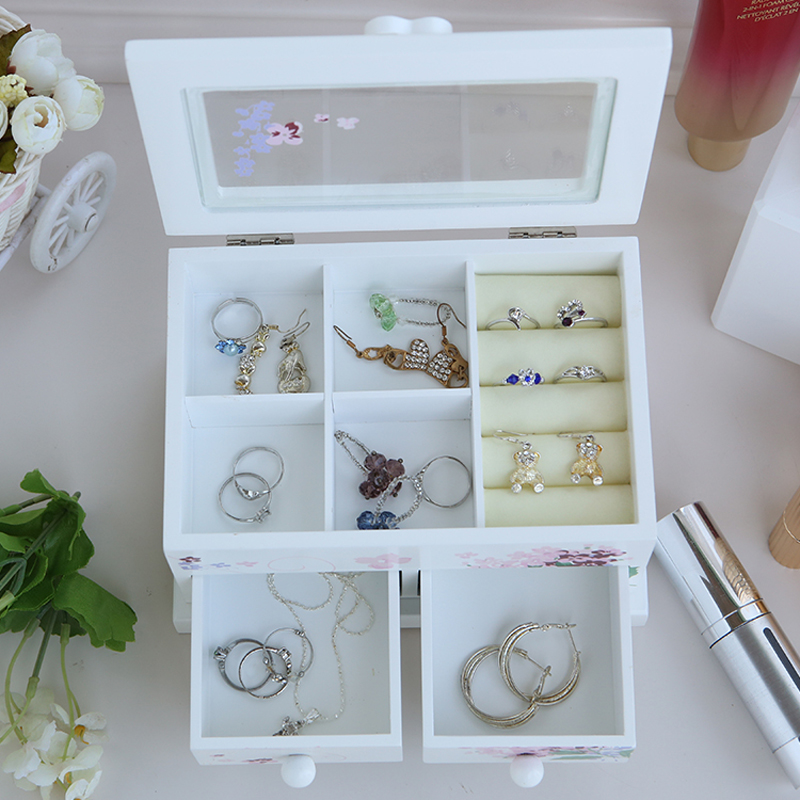 Leewince Custom Wooden Jewelry Makeup Organizer E0 E1 Mdf: Leewince Custom Jewelry Storage Box Makeup Jewelry