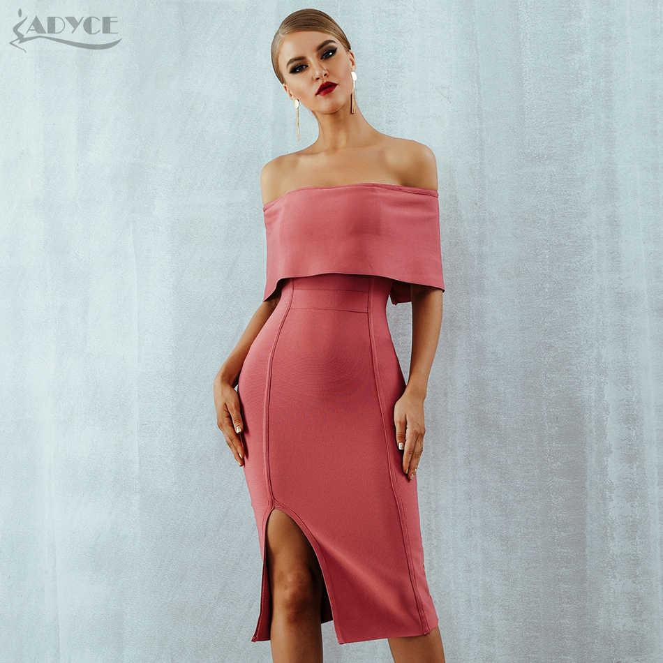 Adyce 2019 yeni yaz kadın Bodycon bandaj elbise Slash boyun kapalı omuz Midi Club elbise ünlü akşam parti elbise Vestidos