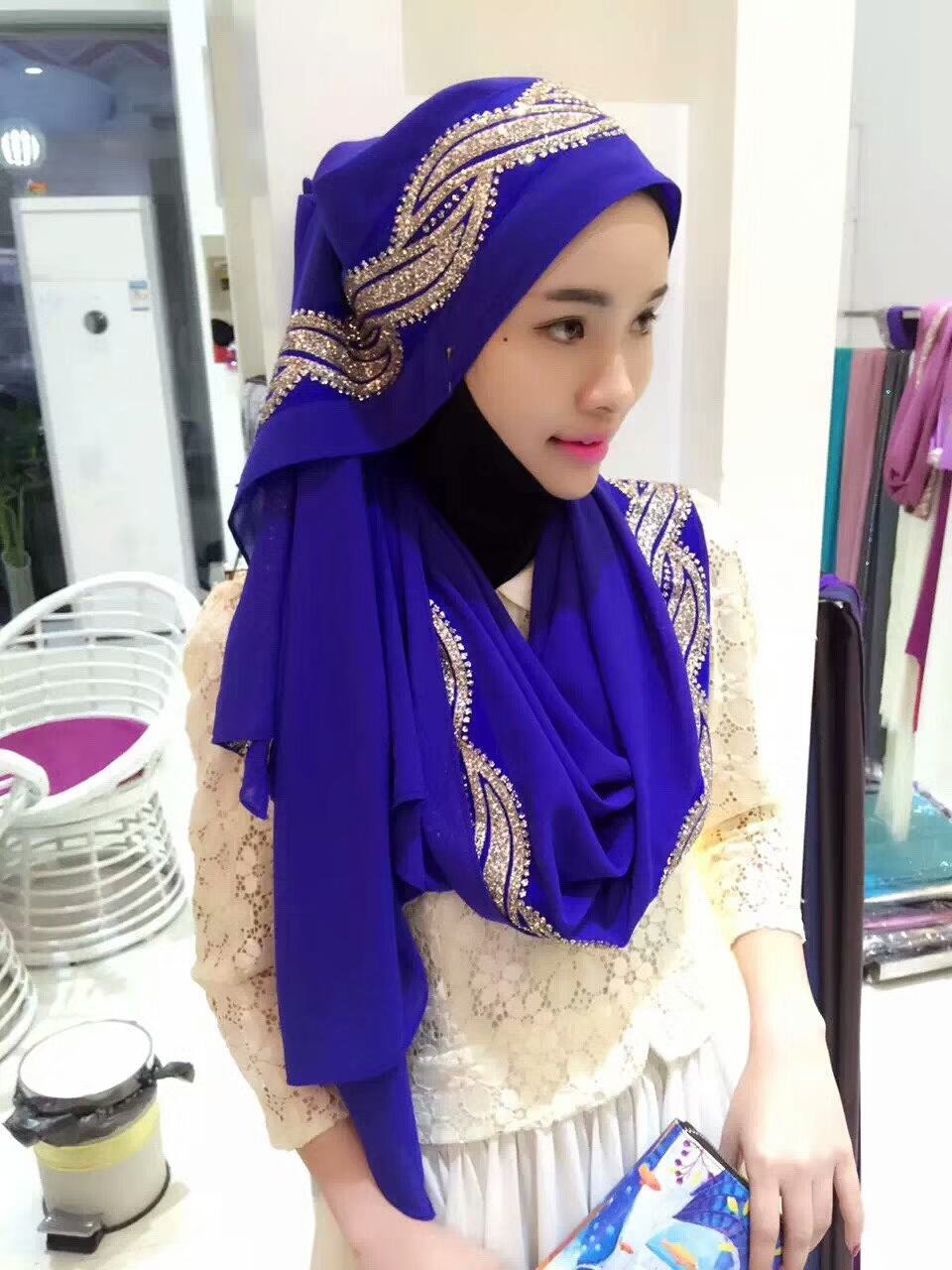 S9 High quality gitter diamond bubble chiffon hijab   scarf     wrap   shawls headband long 180*75cm 10pcs/lot