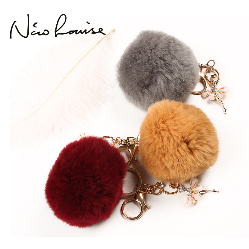 Fashion Cute Women Bag Lovely Tassel Pendant For Bags Soft Rabbit Fur Ball bag Parts Accessories Handbag