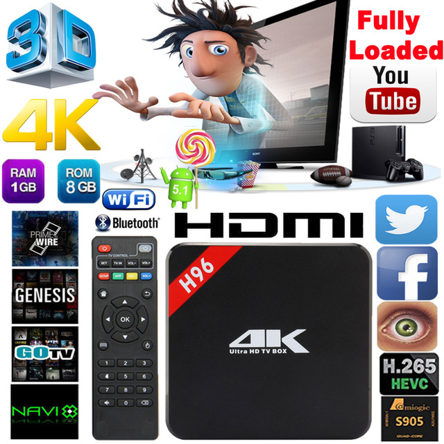 S905 H96 Android TV Box Amlogic Quad Core 1G/8G 64Bit WIFI KODI 16.0 FHD 1080 P 4 K Media Player HDMI 2.0 Android 5.1 Smart TV caixa
