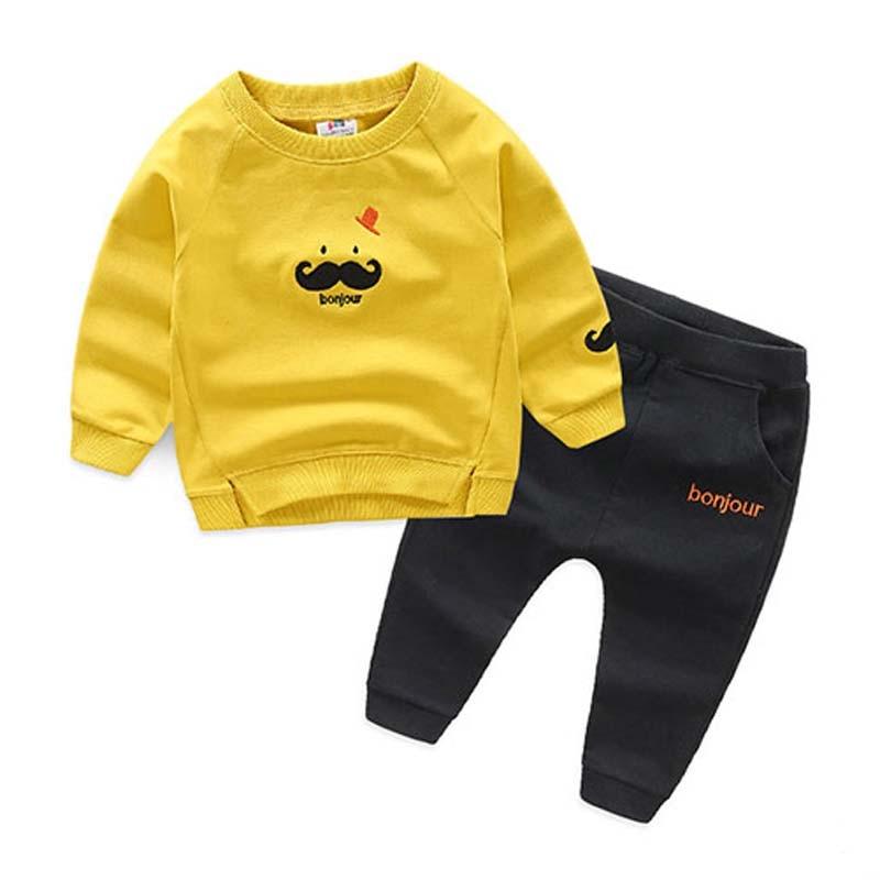 2018 Children Clothing 2pcs sets Coat Tops +Pants Cute Beard Baby Boy Kid Autumn Winter Suit Fall Cotton Sport Tracksuit Outdoor