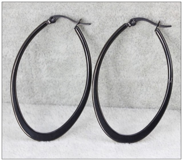 Clic Black 316l Stainless Steel Oval Hoop Earrings Womens S Jewelry Anti Allergic Top Quality