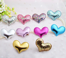 Wholesale New arrival High grate Children hair clips PU leather heart barrettes candy color cute twinkle accessory 30pcs