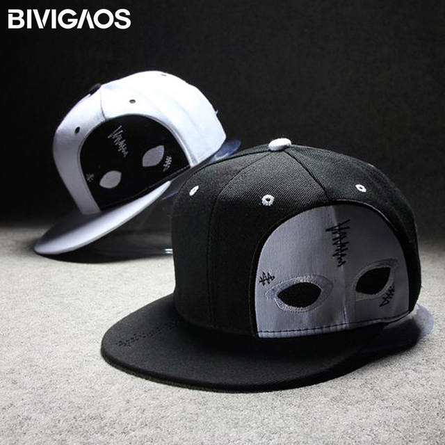 placeholder BIVIGAOS Men Womens Gorras Snapback Cap Half Face Mask Black  Ghost Dance Cap Hip Hop Hats 7e4f61324d06