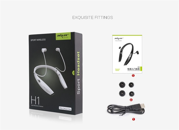 Neckband Bluetooth Sport Stereo Headset Zealots H1 HiFi Headphones With Mic For iPhoneSamsung Handfree Call (22)