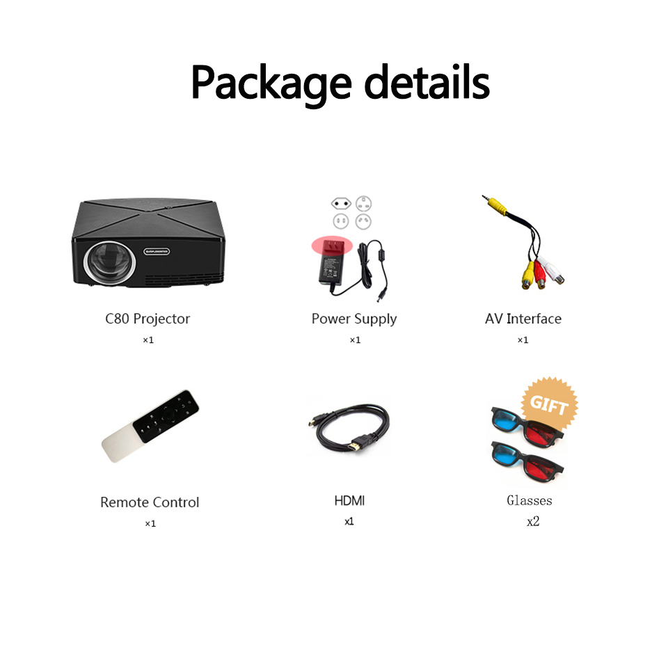 Image 5 - ALSTON HD MINI Projector C80/C80UP, 1280x720 Resolution, Android WIFI Proyector, LED Portable HD Beamer for Home Cinema-in LCD Projectors from Consumer Electronics