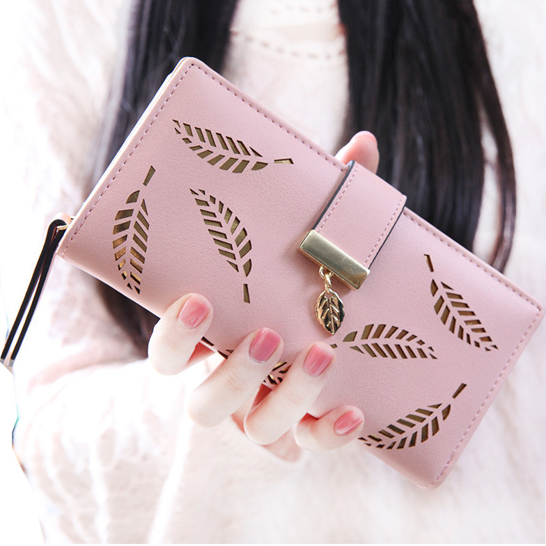 Women Wallet PU Leather Purse Female Long Wallet Gold Hollow Leaves Pouch Handbag For Women Coin Purse Card Holders Clutch #L5