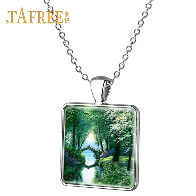 Tafree Pink House Pendant Necklace Cherry Landscape Gl Gem Fashion Painting Jewelry E532