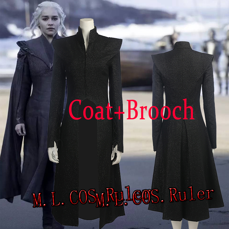 Just Coat+Brooch For Game of Thrones 7 Daenerys Cosplay Costume Mother of Dragons All Size Halloween Clothes Free Shipping
