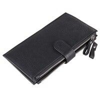 Leder Lange Brieftasche Männer Multifunktionale Zwei Ziper Geldbörse Verschluss Riesige Kapazität Mode Bargeld Handtasche Geld Tasche Mehr Kartensteckplätze