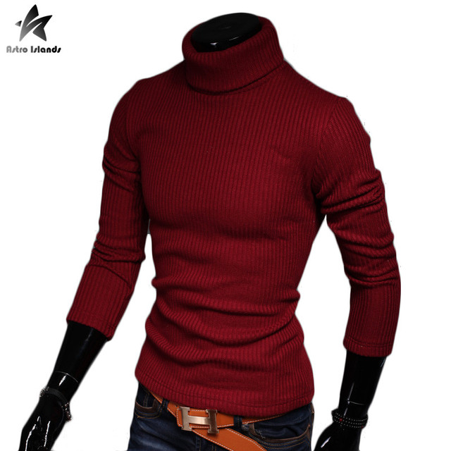2016 Sweater Men Cotton Wool Turtleneck Pullover Knitwear Autumn Winter Solid Warm Mens Slim Sweaters Casual Brand Clothing J131