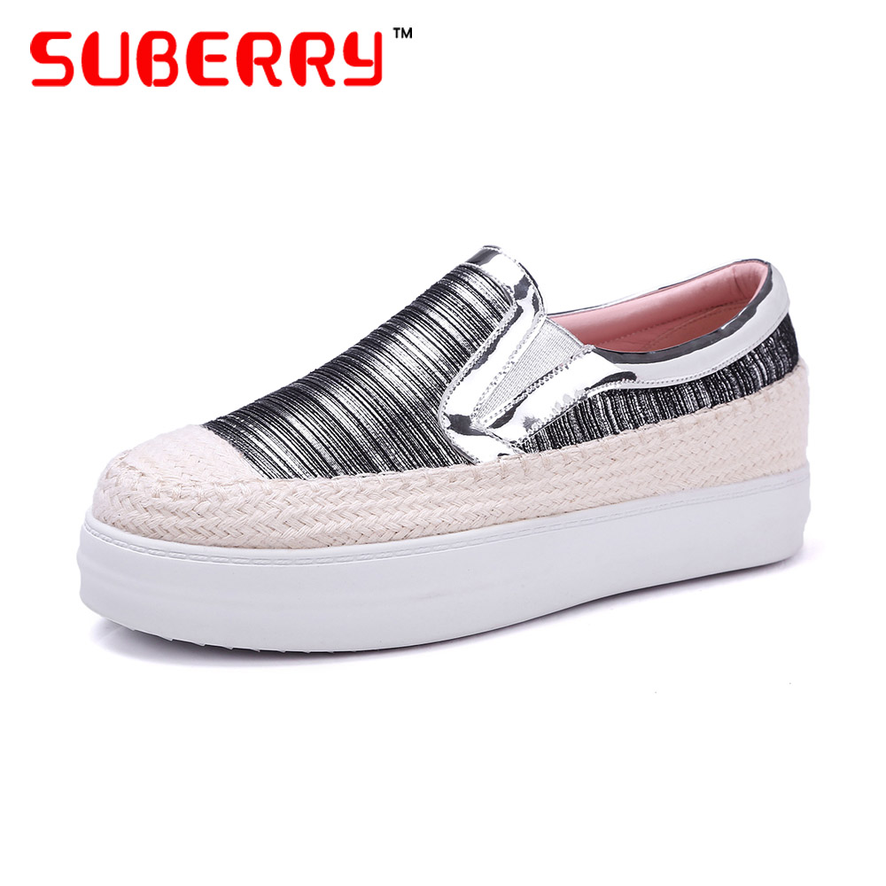 ФОТО SUBERRY Handmade Brand Women Shoes Genuine Leather Sequin Shoes Shoes Loafers Big Size 33-43 Espadrilles Women Platform