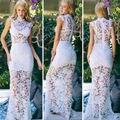 2016 Лето Женщины Белый Вышивка Вязание Крючком Кружева Макси Платье Сексуальная Выдалбливают Длина Пола Длинное Вечернее Платье Вечернее Платье Элегантный