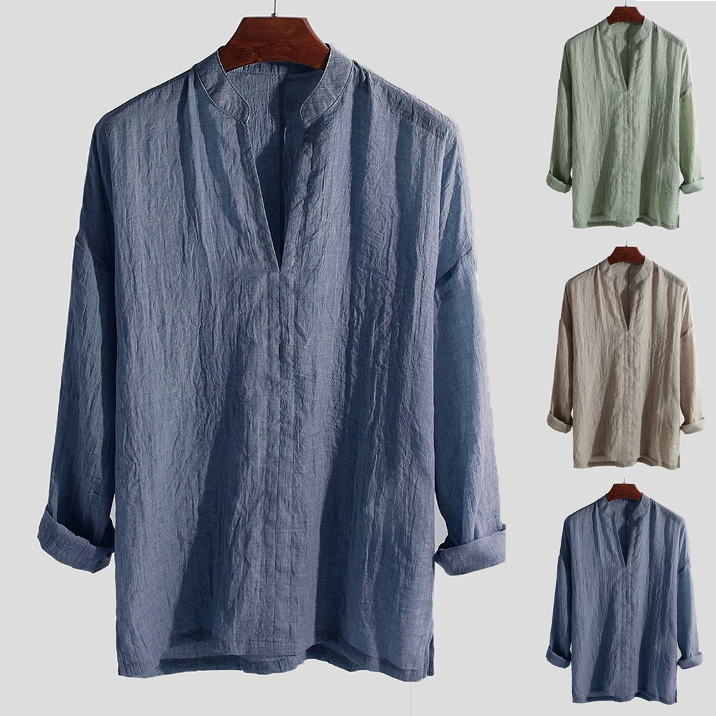 2019 Plus Size Men's Causal Cotton Shirt Breathable Long Sleeve Loose Solid Color V-Neck Top Blouse Chemise Homme Streetwear