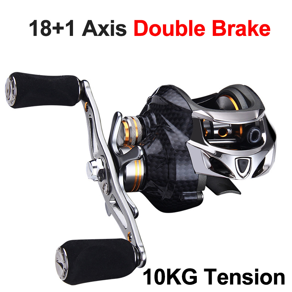 Baitcasting Fishing Reel Strong Tension Metal Carbon Fiber 18+1 Axis Double Brake Lure Fishing Low-Profile Reel for Pesca(China)