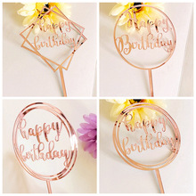 New Happy Birthday Acrylic Cake Topper Mirror Rose Gold Cupcake For Party Decorations Baby Shower