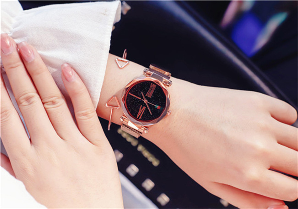 Starry Sky Designer Women's Watches Magnetic Stainless Steel Mesh Strap Ladies Wrist Watches New zegarek damski relogio feminino 6