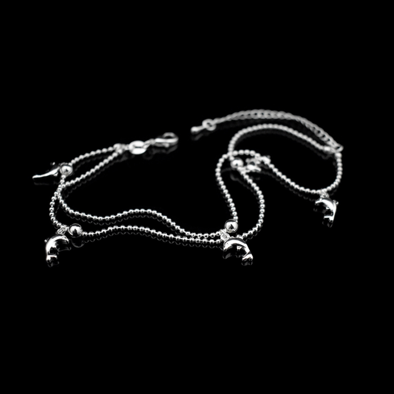 New Fashion Dolphin Pendant Small Round Ball Bead Anklet Bracelet 925 Sterling Silver Dolphin Ankle Chain For Women Jewelry Gift 2