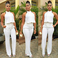 2016 New Summer Women White Pant Suit 2 Piece Set Women Sleeveless Halter Irregular Crop Top Sexy Evening Party Pants Suits