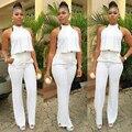2016 novas mulheres de verão calça branca terno 2 peça Set mulheres sem mangas Halter Irregular Top curto Sexy Evening partido calças ternos