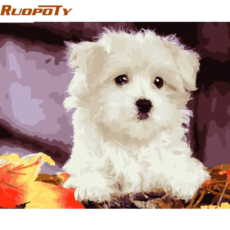 RUOPOTY diy frame Dog DIY Painitng By Numbers Kits Animals Acrylic Paint On Canvas Handpainted For Home Decor 40x50cm Box Send