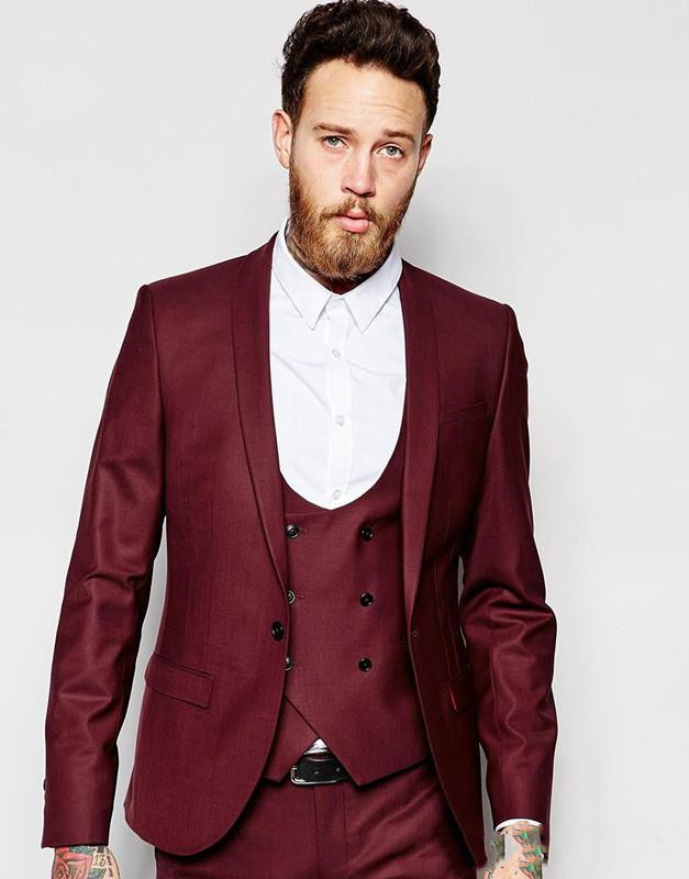 Burgundy Groom Tuxedos Double-Breasted Men Wedding Tuxedos Shawl Lapel Jacket Blazer Fashion Men Dinner Suit(Jacket+Pants+tie)