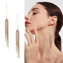 Cubic Zircon Tassel Earrings Personality Temperament Gold Oorbellen Long For Women Accessories