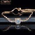 Moda 0.6 Carat Corte Quadrado Zirconia Simulado Diamante Jóias de Prata e Ouro Rosa Pulseira Para As Mulheres Amizade Presente CB187