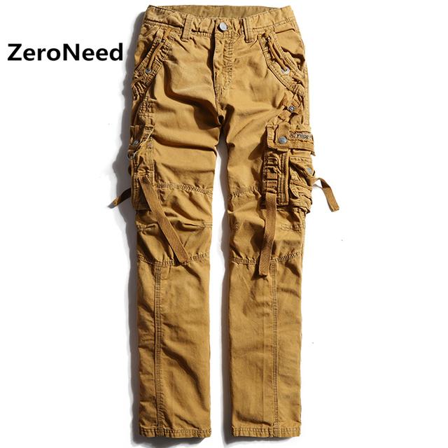 Hip hop pantalones de chándal de moda pantalon homme pantalon moto hommes recta pantalones casuales para hombres de carga pantalones multi del bolsillo 68