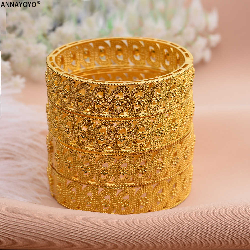 Annayoyo Middle East Arab Dubai Bangle Bracelet for Women African Gold Color Jewelry Trendy Gifts (4PCS/LOT)