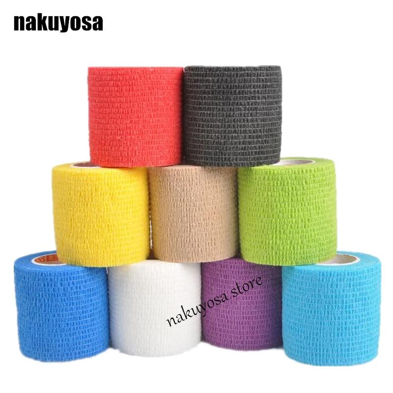 5Rolls/lot 5cm x 4.5m Waterproof Self Adhesive Bandage Tape Finger Joints Wrap Cohesive Bandage Self AdherentWrap Sports