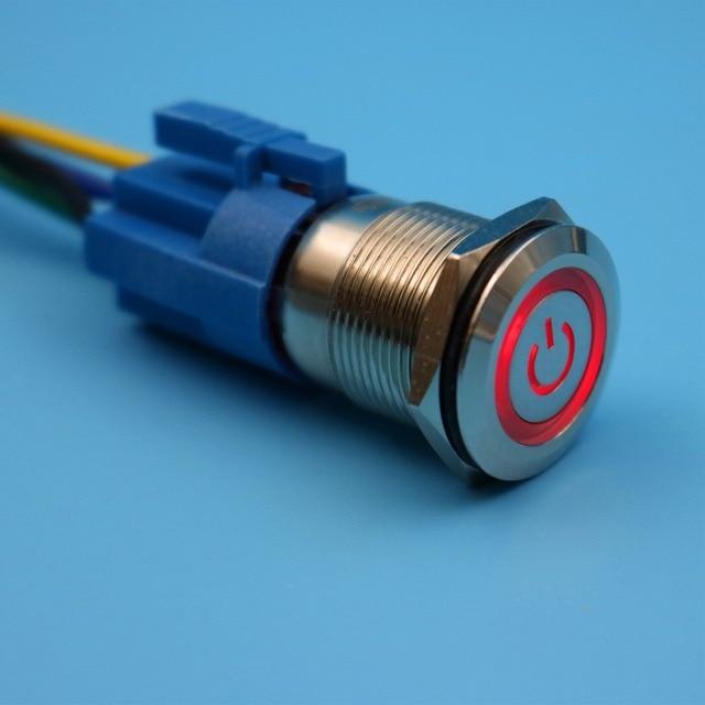 19mm 12 V 5Pin Rote LED Power Symbol Wasserdichte Metall Momentane ...