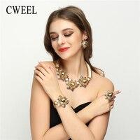 CWEEL Kadınlar Için Moda Büyük Çiçek Gül Düğün Parti Takı Setleri Dubai Afrika Boncuk Takı Seti Sevgililer Günü Hediyesi