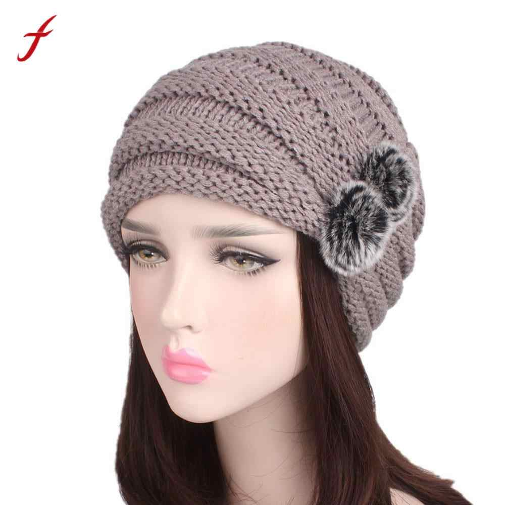85cc8216272 Women Winter Caps Knitted Wool Cotton Hat 2017 Ladies Autumn Knitting  Turban Hat Cap Thick female