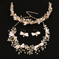 3 pieces bridal jewelry sets Crystal pearl necklace earrings hair jewelry bow bridal wedding accessories