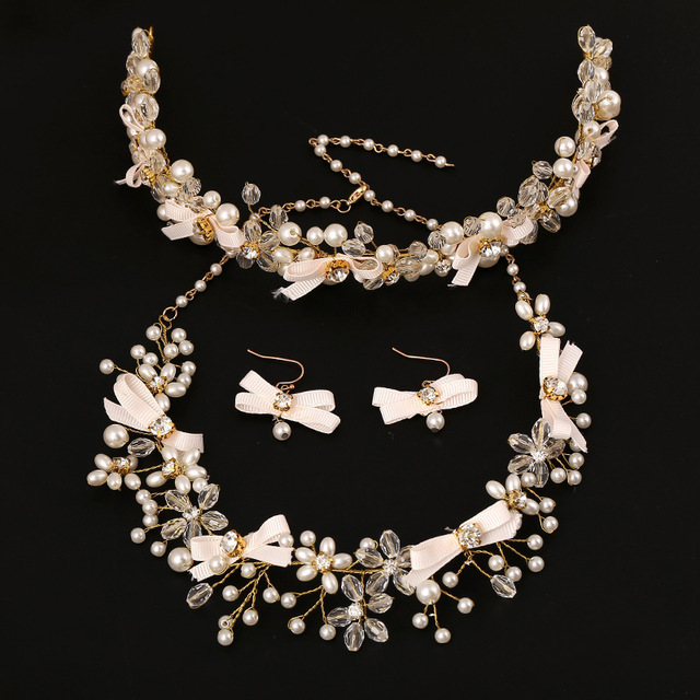 3 Pieces Bridal Jewelry Sets Crystal Pearl Necklace Earrings Hair Bow Wedding Accessories