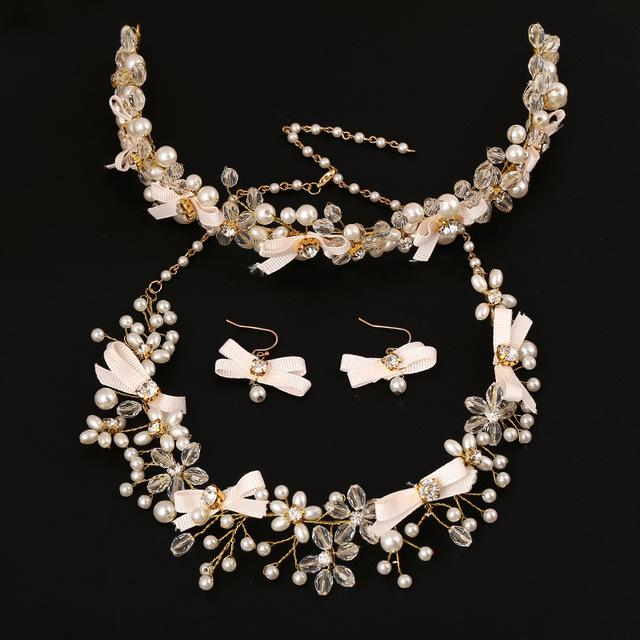 3 unidades de la joyería nupcial conjuntos collar de perlas de Cristal pendientes arco joyería del pelo nupcial accesorios de la boda