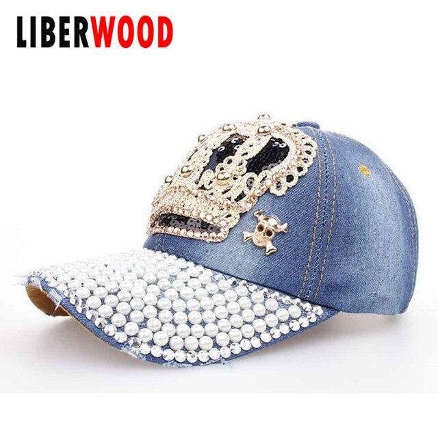 2017 New Cute Crown Baseball Cap Silver Jewel Rhinestone Bling crown Hats  Jeans Wash Denim hat cap for UNISEX MENS WOMENS 943840edc62b