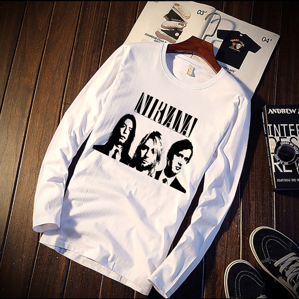 cecd44fed 2018 Pure Cotton T-Shirt Nirvana Singer Figures Classic Printed Long Sleeve  Fashion Casual Tops